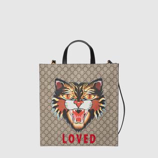 猫印花GG高级人造革购物袋