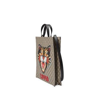 气场猫印花GG Supreme高级人造革购物袋