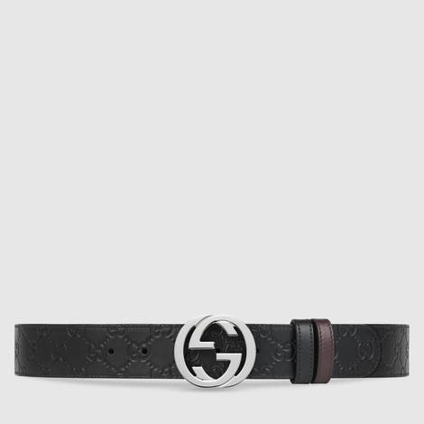 Gucci Signature皮革双面腰带