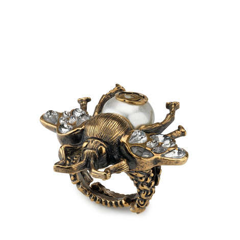 饰水晶和珍珠蜜蜂戒指