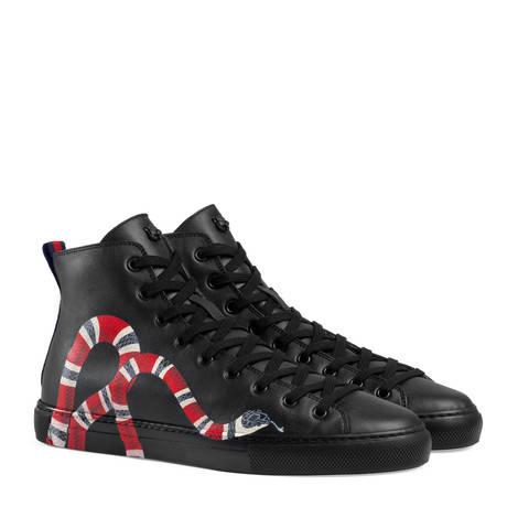 皮革蛇形图案高帮鞋