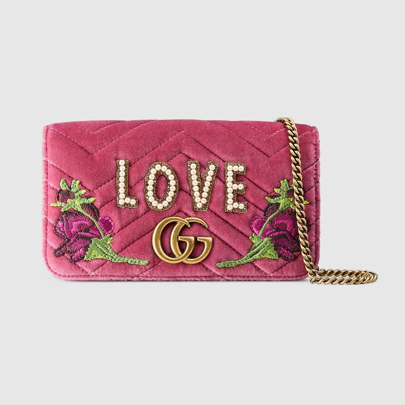 2161ffc608f Gucci Gg Marmont 2.0 Embellished Velvet Shoulder Bag - Pink In Raspberry  Pink
