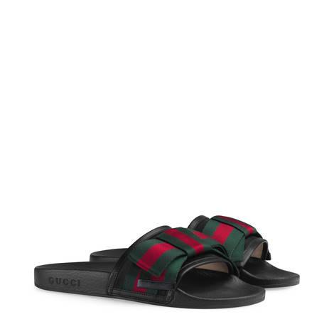 饰条纹织带蝴蝶结丝缎拖鞋