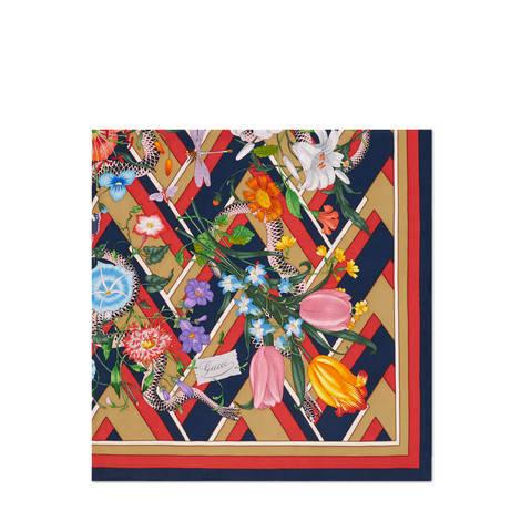 花与蛇搭配人字纹印花真丝围巾