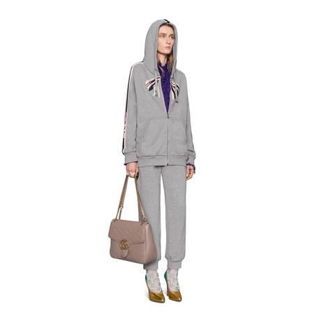 Gucci条纹超大造型拉链卫衣