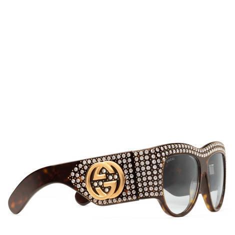 水晶细节装饰方形框超大造型太阳眼镜