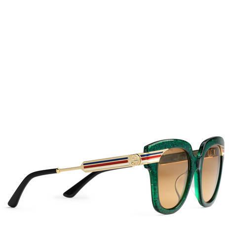 适合亚洲人脸型的方形镜框醋纤太阳眼镜