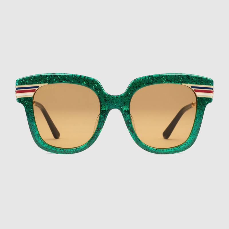 Gucci 适合亚洲人脸型的方形镜框醋纤太阳眼镜