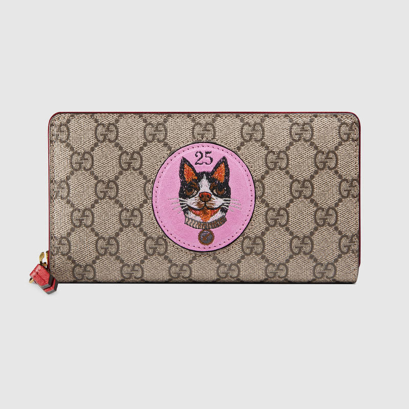 Gg Supreme Zip Around Wallet With Bosco Patch in Pink