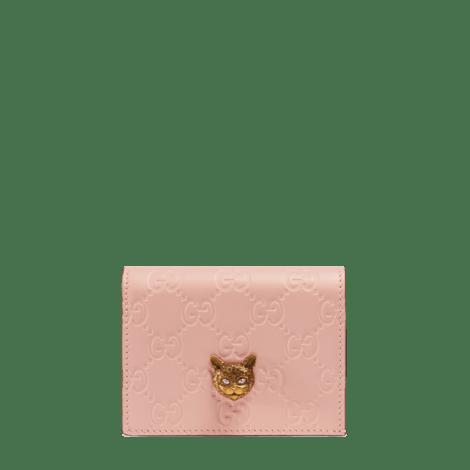 Gucci Signature系列猫头图案卡包
