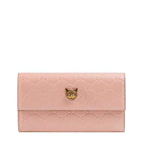 Gucci Signature系列猫头图案长款钱包