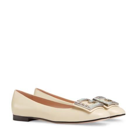 水晶G皮革平底芭蕾舞鞋