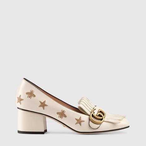 刺绣皮革中跟浅口鞋