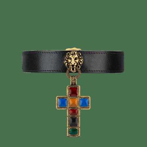 饰十字架吊坠皮革颈圈