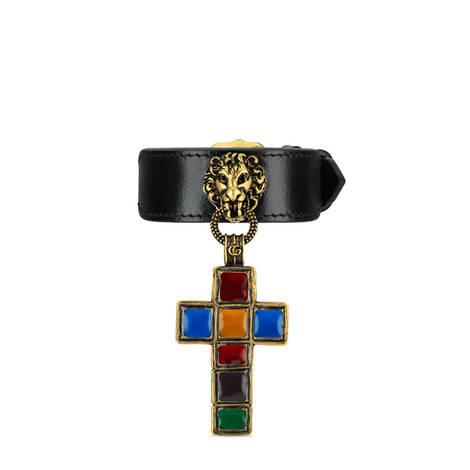 饰十字架吊坠皮革手镯