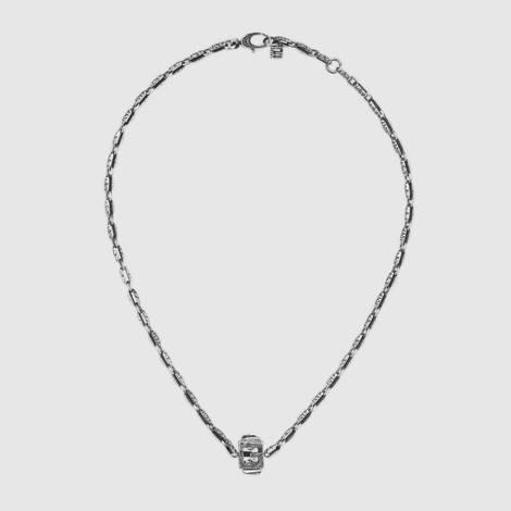 方形G方块纯银项链