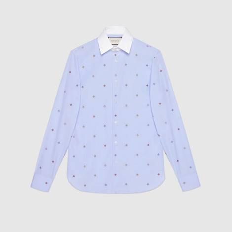 蜜蜂图案切丝衬衫
