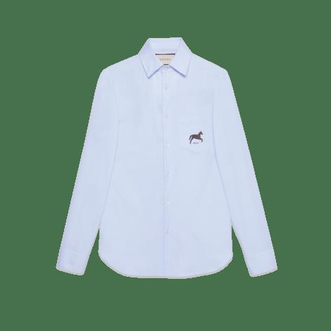 饰马匹切丝棉衬衫