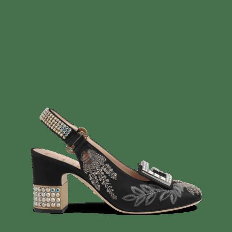 饰水晶G云纹中跟浅口鞋