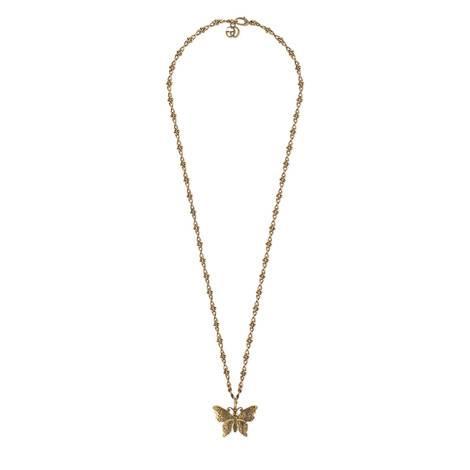 水晶饰钉蝴蝶项链
