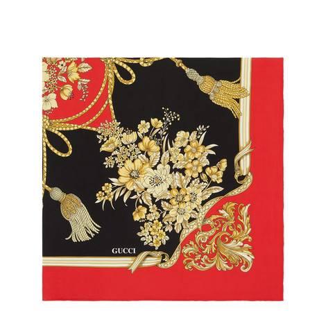 花朵和流苏印花真丝方巾
