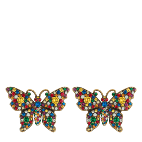 水晶铆钉蝴蝶耳环