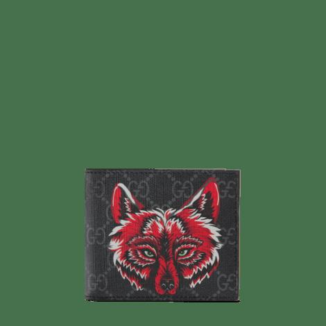 饰狼头图案高级人造帆布钱包