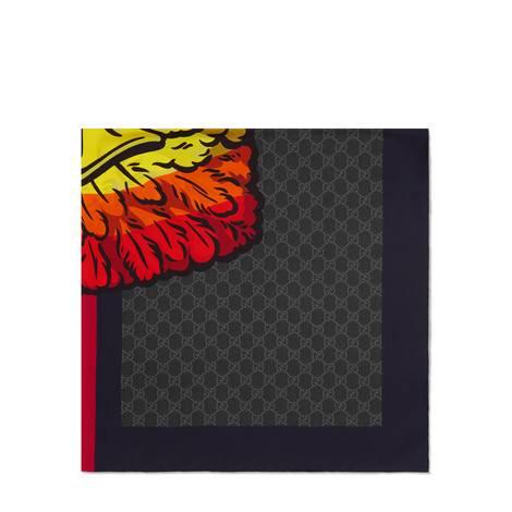 雄鹰图案真丝GG方巾