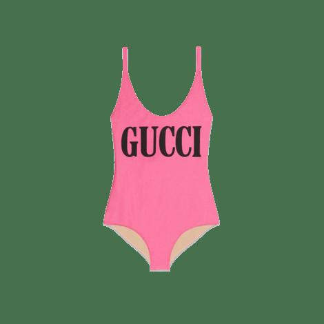 饰Gucci印花闪亮泳装式连体衣