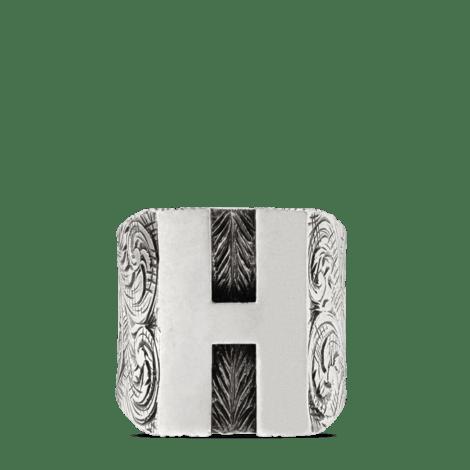 """字母""""H""""造型纯银戒指"""