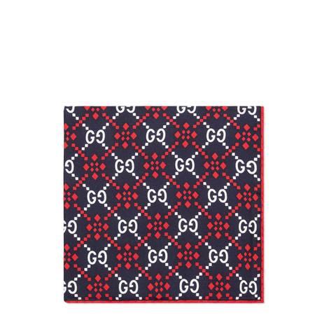 GG菱形真丝口袋巾