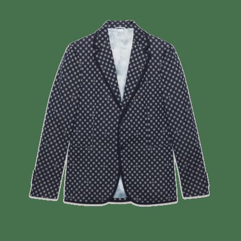 G边框图案针织夹克