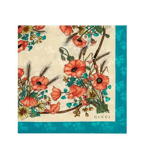 罂粟花印花真丝方巾