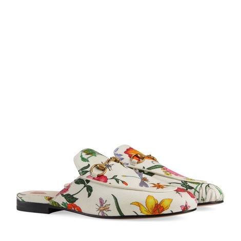 Princetown系列花卉印花帆布拖鞋