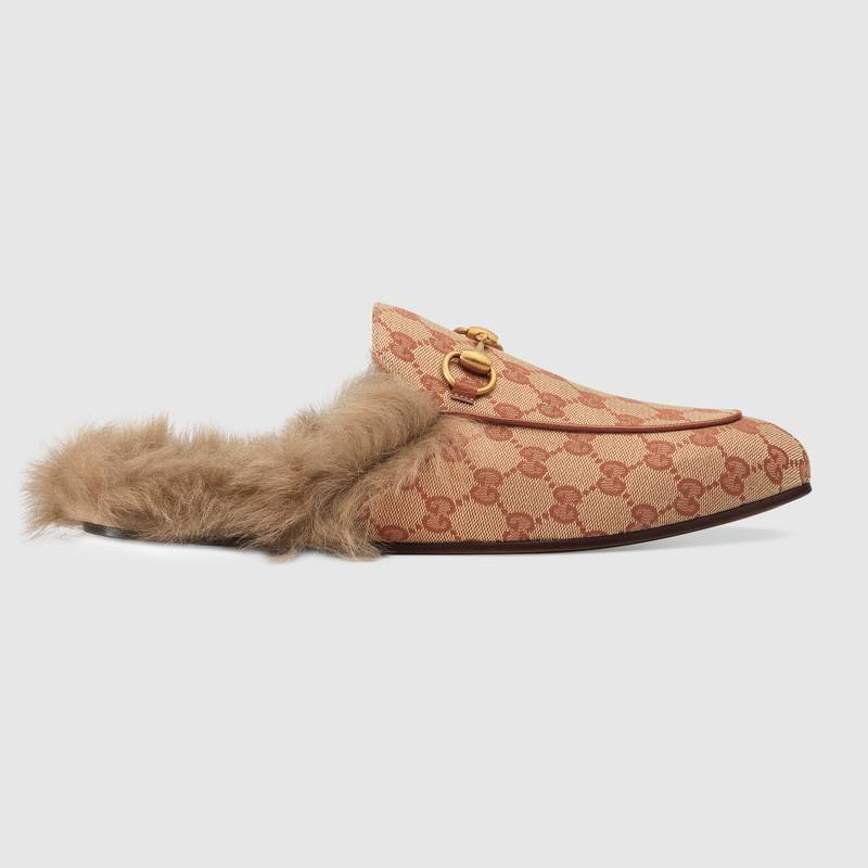 302d2849e17 Gucci Princetown Double G Loafer Mule With Genuine Shearling In Neutrals