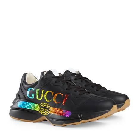 Rhyton系列男士Gucci标识皮革运动鞋