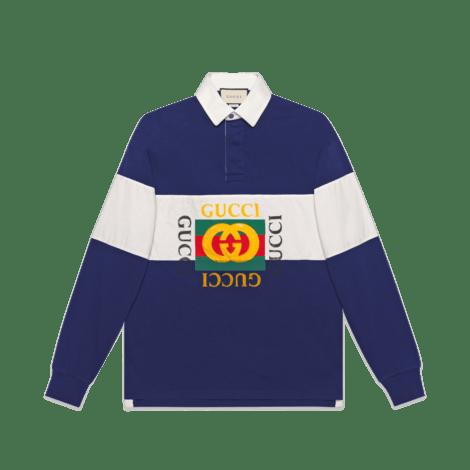 饰Gucci标识超大造型棉质polo衫
