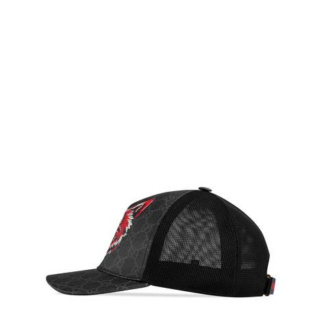 饰狼头图案高级人造帆布棒球帽