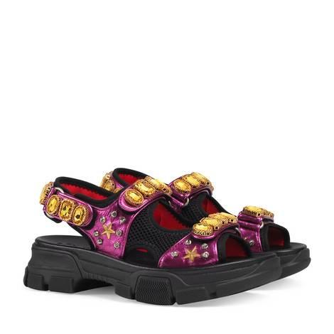 饰水晶金属质感皮革凉鞋