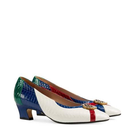 水晶双G蛇皮浅口鞋