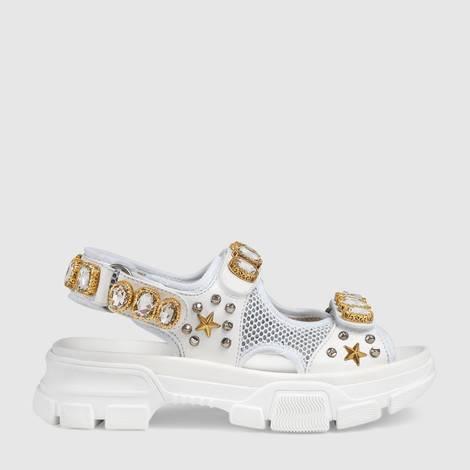 饰水晶皮革网纱凉鞋