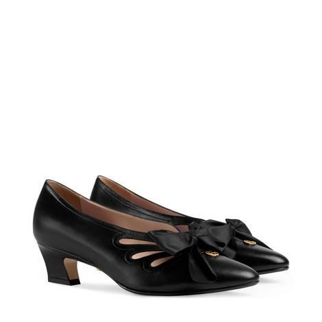 蝴蝶结皮革浅口鞋