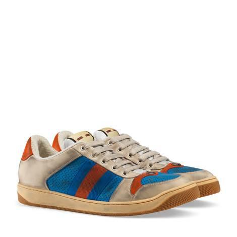 网眼皮革运动鞋