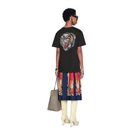 饰亮片Gucci标识超大造型T恤