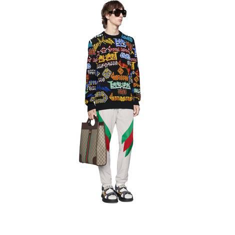 饰条纹织带嵌花超大造型慢跑长裤