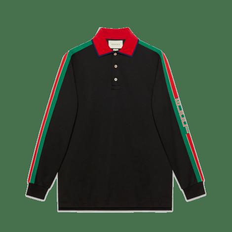 Gucci条纹棉质polo衫