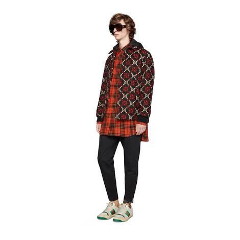 锚钩图案超大造型格纹羊毛衬衫