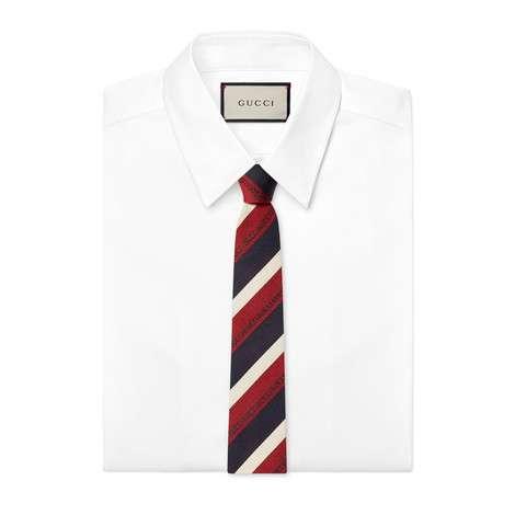 Gucci细条纹真丝领带