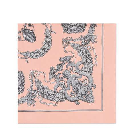 GG、狮子和橡树印花真丝方巾