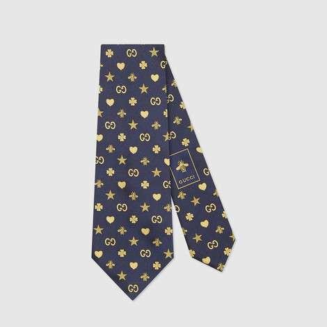 标志性图案真丝领带